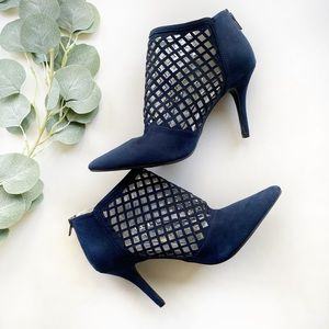 Rampage Navy suede closed toe grid heels 8…